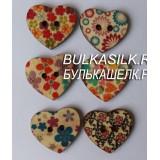 Пуговица деревянная декоративная сердце 1 шт.